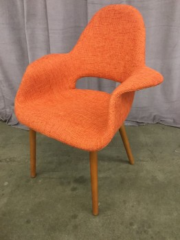 "Eames Replica Arm Chair, Orange Heathered  Weave Upholstery, Walnut Tapered Doweled Legs, Warehouse, Orange, Walnut, Arm Chair, Chairs, 28""W, 24""D, 35""h, Upholstery, Walnut, 2000's, Mid-Century"