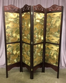 "Folding Screen, Tri Fold W/ Light Gold Asian Mountainside Fabric Print On Both Sides Of Screen, W/ Dark Wood Frame, W/ Carved Floral Pattern On Top Of Screen, Warehouse, Dk. Brown, Gold, Screen, Screens, Bronze, Dk. Green, Brown, Normal Wear And Tear, 78""W, 19.5""D, 77.5""H, Wood, Ethnic"