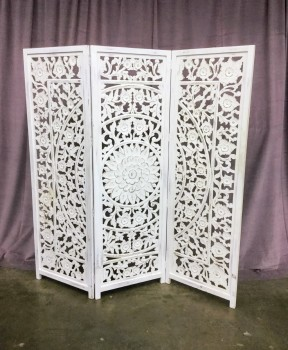 "White Wash Carved Zaria Wood Screen, Ethnic Carved Mandala In The Center, 3 Panel Screeen, Warehouse, White, Screen, Screens, Normal Wear And Tear, 67.5""W, 8""D, 69""H, Carved Wood, Wood, Floral, Ethnic"