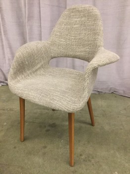 "Eames Replica Arm Chair, Gray Heathered Weave Upholstery, Walnut Tapered Doweled Legs, Warehouse, Gray, Walnut, Arm Chair, Chairs, 28""W, 24""D, 35""h, Upholstery, Walnut, 2000's, Mid-Century"