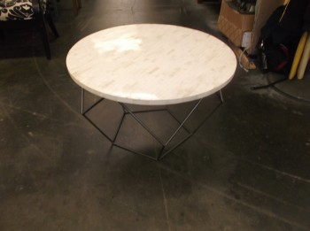 Accent Table, Gray Steel Base, Round Top Covered In Bone , Warehouse, White, Tan, Accent Table, Tables, Gray, Good, Steel, Bone, 21st Century, Indian