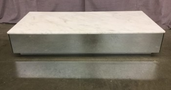 "Marble Coffee Table With Mirrored Base, Warehouse, Off-white, Mirrored Finish, Coffee Table, Table, No Visible Wear And Tear, 48""W, 24""D, 9""H, Marble, Marbled"