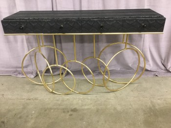 "Console Table, Burlesque, Polished Brass Interlocked Ring Base, Iredescent Black Python Fabric, Black Crystal Knobs, High End Warehouse, Black, Brass , Console, Table, No Visible Wear And Tear, 56.5""w, 15.5""D, 35""H, Brass, Snakeskin, 2000's, French"