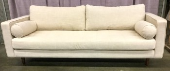 "Sofa, Natural Linen Upholstery, Tufted Bench Seat With Matching Bolsters, Two Loose Back Cushions, Round Tapered Hardwood Legs With Walnut Finish, High End Warehouse, Off-white, Brown, Hign End Sofa, Sofas, No Visible Wear And Tear, 89""W, 39""D, 33""H, Linen, Hardwood"