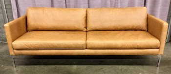 "Sofa, Warm Brown Leather, Sim Profile With Steel Square ube Legs, 2 Seat Cushions 2 Back Cushions Loose, Parker Sofa Charme Russet, High End Warehouse, Tan, Brown, Hign End Sofa, Sofas, Silver, No Visible Wear And Tear, 84""W, 35""D, 32""H, Leather, Hardwood"