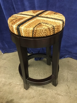 Stool, Backless, Woven Seat With Cross Pattern, Swivel, Hard Wood Frame With Dark Finish, Warehouse, Dark, Natural, Bar Stool, Stools, 15