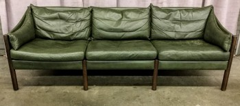 "Sofa, Danish Modern, Vintage Green Leather With Round Walnut Legs, 3 Seat Cushsion, 3 Back Cushionss And 2 Custom Curved Arm Cushions Loose, High End Warehouse, Green, Brown, Hign End Sofa, Sofas, Normal Wear And Tear, 84""W, 30""D, 27""H, Leather, Hardwood"