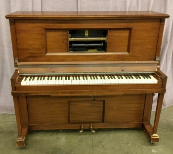 "Upright Player Piano Electric By Wurlitzer Solid Wood On Casters W/ Flip Top Board, W/ Sliding Window Doors In Center Of Piano, W/ 2 Foot Pedals, W/ A Flip Fallboard To Cover The Keys, Warehouse, Brown, White, Muscial Instrument, Music, Black, Brass , Red, Normal Wear And Tear, 56.5""W, 25""D, 49""H, Wurlitzer, Wood, Metal, Not Applicable"