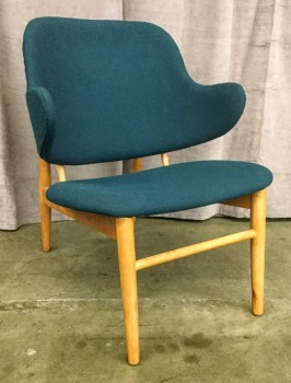 "Occasional Chair, Hopsack Upholstery Dark Greenish Blue, Curved Backrest With Wings, Tapered Rounded Legs And Frame, High End Warehouse, Blue, Tan, Chair, Chairs, No Visible Wear And Tear, 25""W, 25""D, 30""H, Upholstery, Hardwood"