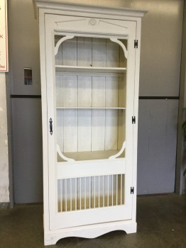 "Hutch, 2 Shelves, Bead Board Back, Crown Moulding, Black Metal Hinges And Pull, Repurposed Screen Door With Trim And Dowel Bottom For Door, Warehouse, White, Hutch, Hutches, Fair, 44""W, 17""D, 94""H, Pressed Board, Pine, American Country, Rustic"