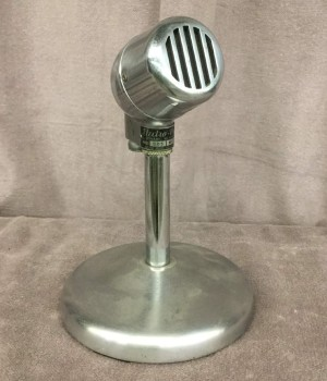 "Vintage Desk Top Microphone, Polished Silver Finish, HANDPROP, Silver, Microphone, Electronic, 5""W, 5""D, 8""H, Electro Voice, Metal, Not Applicable"