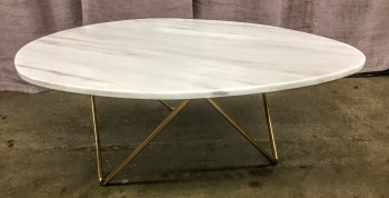 "Coffee Table, Whit Marble Irregular Oval Top, Gold Steel Base, High End Warehouse, White, Gold, Coffee Table, Table, No Visible Wear And Tear, 39""l, 30""W, 15""H, Marble, Metal"
