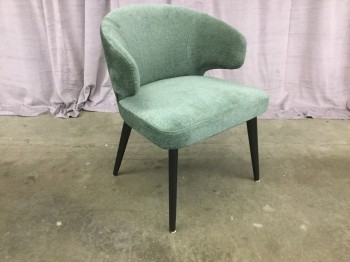 "Arm Chair, Blue Green Chenille Upholstery, Ash Hard Wood Legs Tapered, Stained Black, Retro, Mid Century Modern Inspired Design, High End Warehouse, Blue/Green, Black, Chair, Chairs, 23""W, 24""D, 32""H, Chenille, Ashwood, 2000's, Mid-Century"