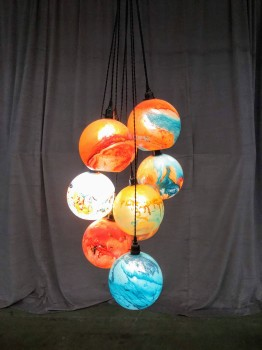 "Hanging Globe Light, Eight Multicolored Glass Globes Hung With Black Fabric Cord, Fixtures, Multi-colored, Ceiling Fixture, INDOOR, Normal Wear And Tear, 20""W, 18""D, 48""H, Art Glass"