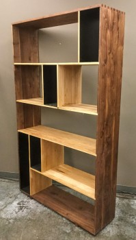 "Book Case, Shelf, Walnut And Oak With Black Steel Accents, Ten Separate Asymmetrical Divisions, Dovetailed Corners, High End Warehouse, Brown, Tan, SHELVES, Shelves, Black, No Visible Wear And Tear, 47.5""W, 14""D, 80""H, Hardwood, Steel"