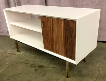 "Cabinet With Shelves, White With Walnut Door, Steel Legs With Gold Finish, High End Warehouse, Brown, White, Cabinet, Cabinets, Brown, Gold, No Visible Wear And Tear, 41.5""W, 15""D, 23""H, Hardwood, Steel"