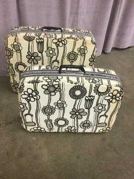 "Vintage Luggage, Set Of Two, Black And White Floral Design, Inside Finished With Orange Fabric #32106868, #32106869, HANDPROP, Black & White, Luggage, LUGGAGEBAG, No Visible Wear And Tear, 8""D, 26""W, 20""H, Samsonite"