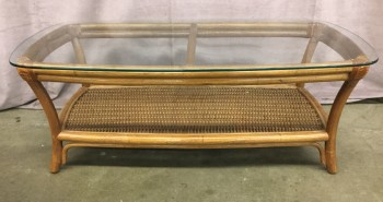 "Rattan Coffee Table With Rounded Rectangular Glass Top, Curved Legs With Wicker Lower Shelf, Warehouse, Brown, Coffee Table, Table, No Visible Wear And Tear, 46""W, 24""D, 16""H, Rattan, Glass, Not Applicable"