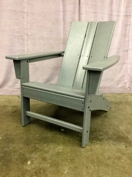 "Patio Chair, Solid Polywood W/ Waterfall Front, W/ 3 Slats Of Polywood For Backrest (Set Of 4, 4 Of 4 Matches 31105368 Thru 31105370), Warehouse, Gray, Patio Furniture, Patio, Normal Wear And Tear, 29""W, 32""D, 34.5""H, Polywood, Wood, Not Applicable"