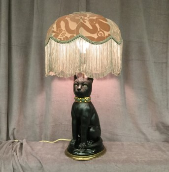 "Black Cat Lamp Stand With Gem Collar And Gold Accents, Paired With Victorian Fringe Pink Lamp Shade, Gold Fabric Cord, Fixtures High End, Black, Pink, High End Table Lamps, INDOOR, Gold, Pristine Or In Mint Condition, 15""W, 15""D, 28""H, House Of Hackney, Ceramic, Fabric, Object"