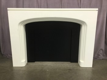 "Fireplace Mantel, Hearth, White Laquer With Solid Black Insert, High End Warehouse, White, Black, Art, Art, No Visible Wear And Tear, 63""W, 10""D, 45""H, Christopher Guy, Hardwood, Enamel, Not Applicable"