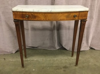 "Console Table, White Marble Top, Single Drawer With Flamed Grain Veneer, Floral Aged Brass Knobs, Tapred Legs With Single Fluted Detail, Brass Toe Caps, Warehouse, White, Medium Brown, Console Table, Table, Normal Wear And Tear, 30""W, 13""D, 30.5""H, Marble, Walnut, Marbled"