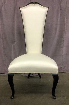 "High Backed Opera Chair, White Silk Upholstery With Curved Black Lacquereed Cabriole Legs, Rear Legs Crossed, High End Warehouse, White, Black, Chair, Chairs, No Visible Wear And Tear, 23""W, 24""D, 46""H, Christopher Guy, Silk, Hardwood, Not Applicable"