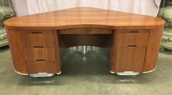 "Aviation Desk, Mahogany With Polished Aluminum Base, Wing Shape With Rounded Corners And Sides, High End Warehouse, Mahogany , Silver, Desk, Desks, 72""W, 47""D, 30""H, The Fletcher Desk, Mahogany Veneer, Aluminum, Object"
