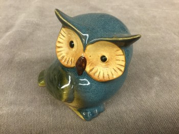 "Ceramic Owl Figurine, Blue Glaze, HANDPROP, Blue, Animal, Fish, Bird Figurine, Figurine, No Visible Wear And Tear, 3""L, 4""W, 3""H, Ceramic"