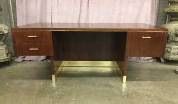"Mahagany Executive Desk, Brass Pin Stripe Along The Front,  Brass Pulls Wtih Brass Trimmed Kick Plate,, Warehouse, Redbrown, Brass , Office Desk, Desks, Normal Wear And Tear, 76""W, 40""D, 29""H, Mahogany, Brass, Not Applicable"