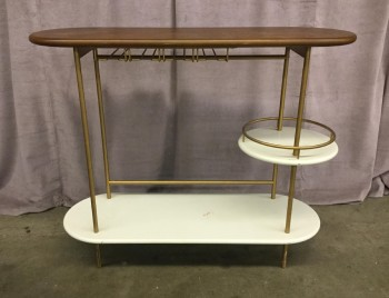 "Bar ConsoleTable, Tiered, Oval Walnut Top With Gold Steel Tube Frame, White Circular Shelf For Bottles, Built In Glassware Rack, Warehouse, Brown, Gold, Bar, Bar, White, Normal Wear And Tear, 42""W, 14""D, 34""H, Wood, Steel, Not Applicable"