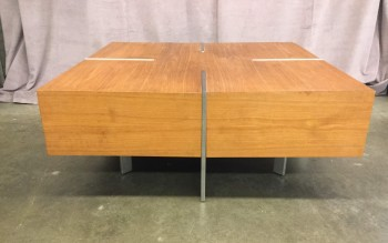"Cocktail / Coffee Table, Square, Laminated Hardwood With Inset Brushed Stainless Legs, Warehouse, Medium Brown, Silver, Coffee Table, Table, Normal Wear And Tear, 42""H, 42""D, 16""H, Lexington, Hardwood, Stainless Steel, Not Applicable"