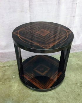 "Circular End Tables, Solid Lacquered Wood W/ Lower Circular Shelf, W/ 2 Wood Posts That Connect The Top W/ Base Of Table, W/ Geometric Square Woodgrain Design On Top And Base (Set Of 2, 1 Of 2 Matches 31105382) Has Matching Coffee Table 31105384, Warehouse, Brown, Dk. Brown, Accent Table, Table, Medium Brown, Normal Wear And Tear, 22""W, 22""D, 21""H, Lacquered, Wood, Geometric"