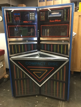 "Juke Box, CD, Seeburg Laser Music, Blue And Black With Pastel Accents, Warehouse, Blue, Black, Jukebox, Music, Multi-colored, 40""W, 27""D, 60""H, Metal, Glass, 1980's"