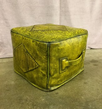 "Ottoman, Hassock/Pouf, Olive Green Cube Hassock W/ 4 Large Diamonds On Top And 3 Sides Of Ottoman, W/ Green Handle, Warehouse, Olive Green, Yellowgreen, Hassock, OTTOMANS, Dk. Green, Normal Wear And Tear, 14.5""W, 14.5""D, 11.5""H, Vinyl, Upholstery, Not Applicable"