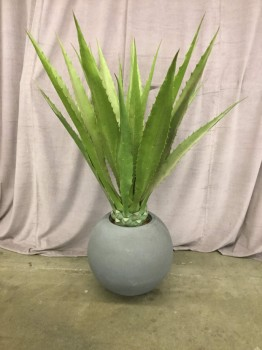 "Large Artificial Aloe In Stone Ball Planter, Warehouse, Green, Gray, Artificial Plants, Greens, 48""W, 48""D, 60""H, Plastic, Stone, Not Applicable"