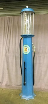 "Vintage Visible 10 Gallon Gas Pump, W/ Black Hose W/ Silver Pump, W/ Black Crank In Front Of Base Of Pump, W/ Clear Hard Plastic 10 Gallon Tank, W/ Circle 'Bartles Gasoline' Logo On Front And Back Of Pump (Set Of 2, 1 Of 2 Matches 31105686), Warehouse, Blue, Black, Automotive, AUTO, Clear, Silver, Yellow, Normal Wear And Tear, 23""W, 23""D, 98""H, Bartles, Various Materials, Metal, Not Applicable"