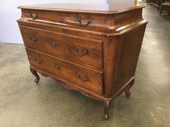 Dresser, Walnut, 3 Drawer, Bronze Pulls And Locking Hardware, Tapered Sides With Sarcophagus Top, Carved Legs And Lower Moulding, Key Cabled Inside Drawer., High End , Walnut, Tall Case Dresser, Dressers, 47
