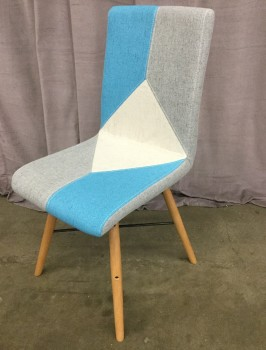 "Dining Chair, Mid Century Modern Inpired Design, Geometric Pattern, White, Blue, Gray, Tapered Dowel Legs, Warehouse, Gray, Blue, Dining Chair, Chairs, White, Tan, 16""W, 21""D, 25""H, Upholstery, Maple, 2000's, Mid-Century"