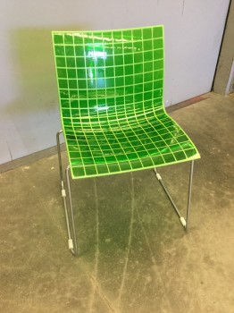 Stacking Chair, Knoll X3 Designed By Marco Maran, Polished Chrome Steel Legs With Polycarbonate Desmopan Lattice Seat, 1 Of 7 #32102586 Thru 592, Warehouse, Lime Green, Stacking Chair, Chairs, Good, 21
