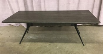 "Coffee Table, Aged Oak Top With Reverse Beveled Edge, Sleek Angular Steel Base, Industrial Modern, Warehouse, Dk. Brown, Black, Coffee Table, Table, Pristine Or In Mint Condition, 55""L, 27.5""W, 18""H, Oak, Steel"