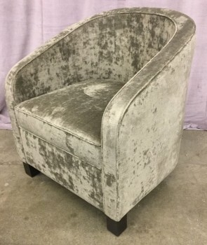 "Tub Chair, Gray Velvet Upholstery, Hard Wood Legs With Dark Brown, Finish, High End Warehouse, Gray, Dk. Brown, Chair, Chairs, 28"", 28"", 33""H, Velvet, Hardwood, 2000's, Contemporary"