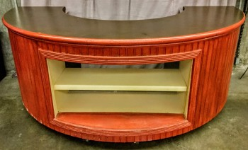 "Semi Circle Counter With Display Case In Front, Mottled Gold Top With Red Bead Board Face, Warehouse, Red, Beige, Commercial Display, Commercial, Gold, Normal Wear And Tear, 111""W, 60""D, 42""h"