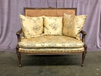 "Settee French Cane Back, Carved Brocade, Upholstered Light Gold Floral Fabric W/ 3 Square Pillows Made Of The Same Fabric As Settee (Set Of 2, 1 Of 2 Matches 31105400), Warehouse, Lt. Gold, Black, Settee, Sofas, Brown, Lt. Yellow, Medium Brown, Normal Wear And Tear, 46""W, 25""D, 41""H, Wood, Upholstery, Floral"