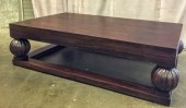 "Art Deco Large Coffee Table Dark Woodgrain Finish Carved Finial Supports, Warehouse, Dk. Brown, Lt. Brown, Coffee Table, Table, Normal Wear And Tear, 42""W, 36""D, 17""H, Quatrain, Wood, Not Applicable"