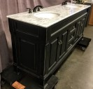 "Bathroom Vanity, Double  Marble Basin, Black Cabinet With Gold Accents, Antiique Brass Hardware, Black Faucets, There Are Two Matching Mirrors 31108512, 31108513, High End Warehouse, Marbleized, White, Vanity, Vanity, Black, No Visible Wear And Tear, 80""W, 23""D, 35.5""H, Marble, Wood, Marbled"