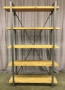 "Shelf Unit, 5 Fir Shelves On Aged Steel Finished Frame, X Braced Back, Warehouse, Brown, Gray, Shelf, Shelves, 47""W, 14""D, 78""H, Fir, Metal, 2000's, Rustic"