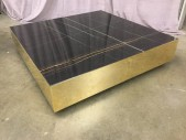 "Coffee Table, Black Marble, Gold Plated Steel Base, Square, High End , Black, Gold, Coffee Table, Tables, 47"", 47"", 10""H, Marble, Gold-plated, 2000's, Modern"