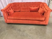 "Sofa, Red/Orange Velvet, Chesterfield Style, Buttoned Back, Five Throw Pillows, Brass Nail Head Trim, Tapered Square Maple Feet With Dark Finish, Warehouse, Burnt Orange, Sofa, Sofas, 80""W, 40""d, 36""H, Velvet, Maple, 2000's, Contemporary"