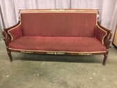 "Sofa, Carved Swan Arms, Burgundy Upholstery With Gold Trim Brass Inlay On Walnut Frame, High End , Burgundy, Gold, Sofa, Sofas, Walnut, 71""W, 26""D, 36""H, Walnut, Upholstery, Directoire"